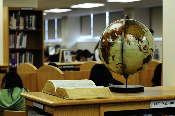 Globe and Book in library