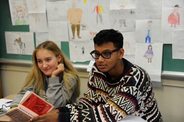 Two Students reading The Scarlett Letter